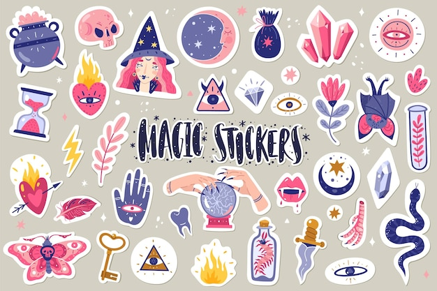 Magische pictogrammen doodles stickers illustratie