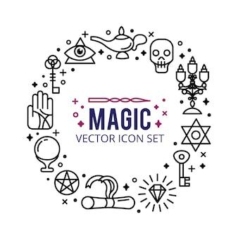 Magische pictogrammen instellen. fonkel magische lichten. mysterie mirakel