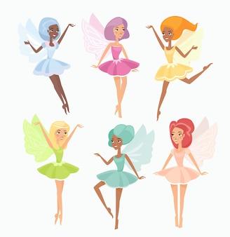 Magische pixies platte illustraties instellen. leuke feeën die op witte achtergrond worden geïsoleerd. mythische elven die in de lucht zweven. verschillende sierlijke meisjes met vleugels. prachtige vliegende magische wezens.
