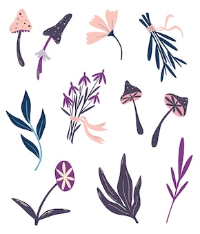 Magische planten. hekserij dingen. set van magische paddestoelen bloemen en kruiden. ingrediënten voor magische drankjes. sjamanistische en occulte objecten. halloween-decor. vector bloemenillustratie