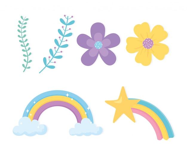 Magische regenbogen wolk ster bloemen takken natuurelementen