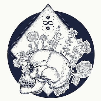 Magische schedel tattoo
