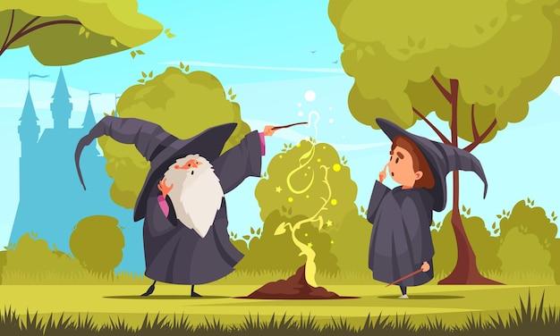 Magische schoolsamenstelling met openluchtlandschapssilhouet van oud kasteel en leraar groeiende plant met spreuk