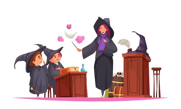 Magische schoolsamenstelling met uitzicht op de klas met leerlingen in hoeden en leraar met toverstaf