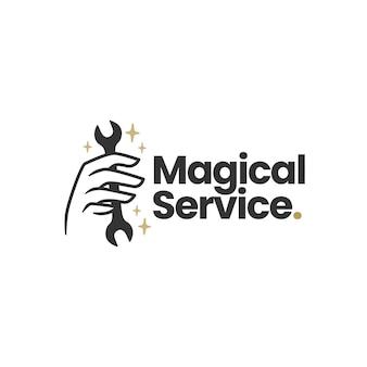 Magische service moersleutel hand mystic logo sjabloon
