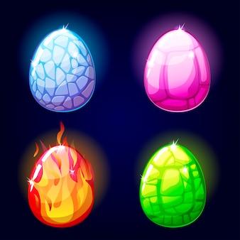 Magische set iconen, draken eieren, spelelementen