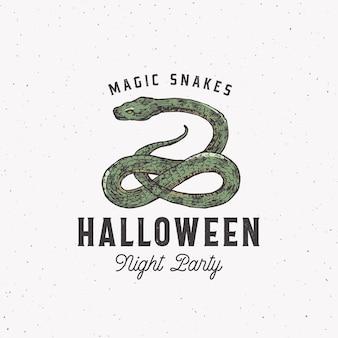 Magische slangen halloween nacht partij labelsjabloon met slang
