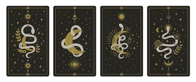 Magische slangen tarotkaarten. occulte handgetekende tarotkaarten, esoterische spirituele slangen wijsheidskaarten set