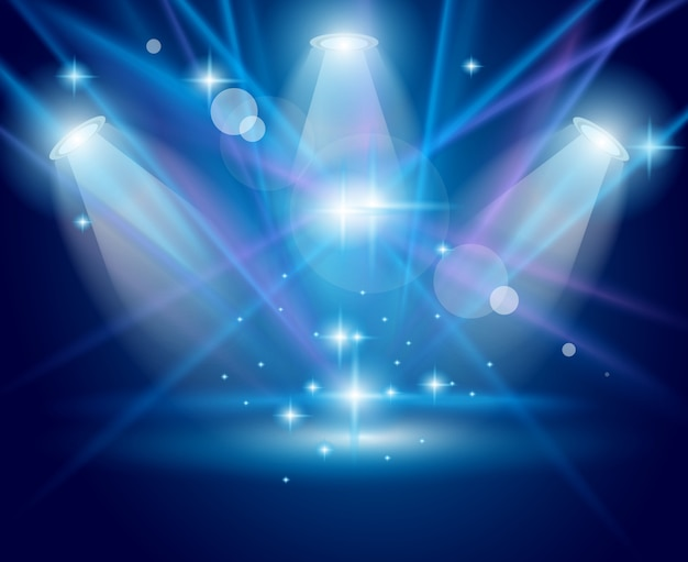Magische spots met blauwe stralen en gloeiend effect