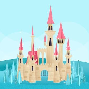 Magische sprookjesachtige kasteelillustratie