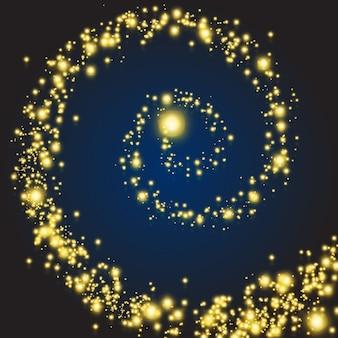 Magische sterren wervelen. gloed magische spiraal met glitter effect, vectorillustratie
