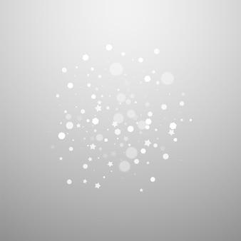 Magische sterren willekeurige kerstachtergrond. subtiele vliegende sneeuwvlokken en sterren op lichtgrijze achtergrond. mooie winter zilveren sneeuwvlok overlay sjabloon. glamoureuze vectorillustratie.