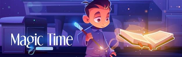 Magische tijdposter met jongen met spreukenboek
