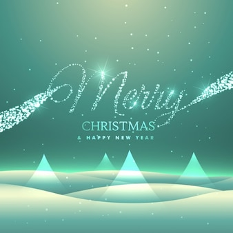 Magische vrolijke kerst wens kaart ontwerp met snowly backgroud