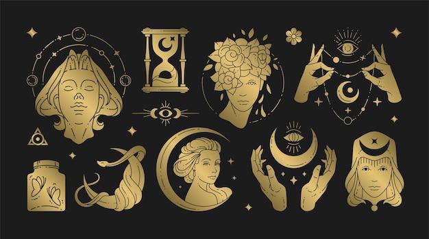 Magische vrouw boho vectorillustraties van sierlijke vrouwelijke vrouwen en esoterische symbolen set