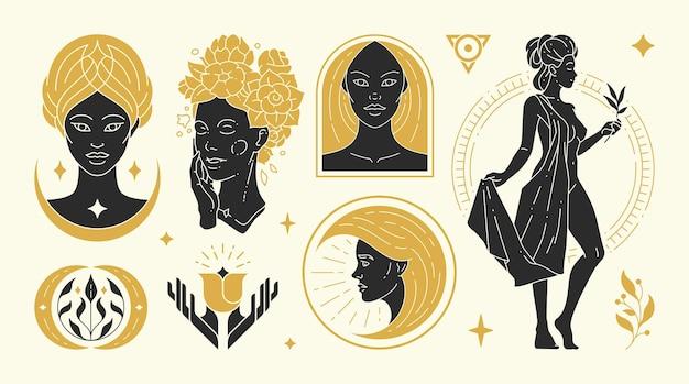 Magische vrouw vectorillustraties van sierlijke vrouwelijke vrouwen en esoterische symbolen set