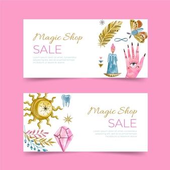 Magische winkel banners sjabloon