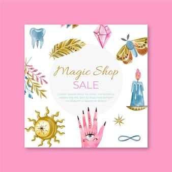 Magische winkel vierkante flyer-sjabloon