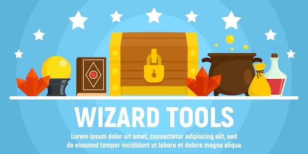 Magische wizard tools concept banner sjabloon, vlakke stijl