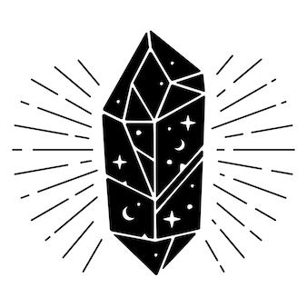 Magische zwarte kristal vectorillustratie.