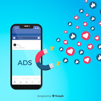 Magneet facebook advertenties achtergrond