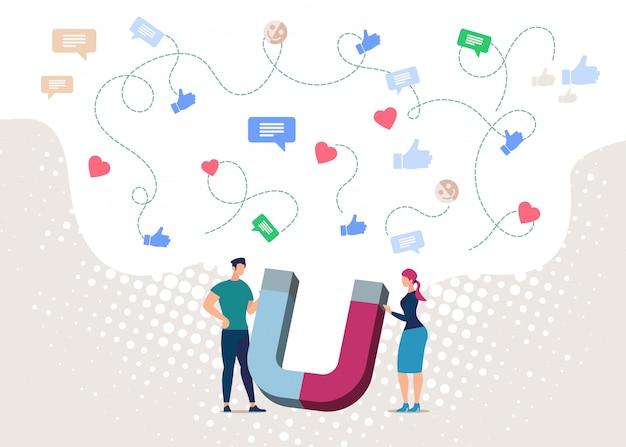 Magneetmarketing in sociaal netwerk.