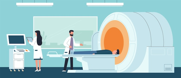Magnetische resonantie beeldvorming. dokter onderzoekt patiënt in laboratorium ziekenhuis en verpleegster kijken resultaat op computer, procedure scannen hersenen x ray scanner, medische behandeling vector platte cartoon concept