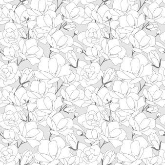 Magnolia bloem bloeien naadloos patroon