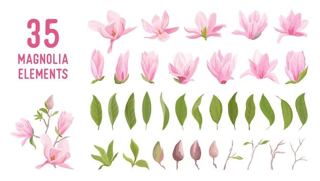 Magnolia bloem, bloesem, bladeren, boeket vector set. sjabloonontwerp pastel bloemenelementen voor bruiloft, lenteuitnodiging, zomerposter, achtergrond, brochure