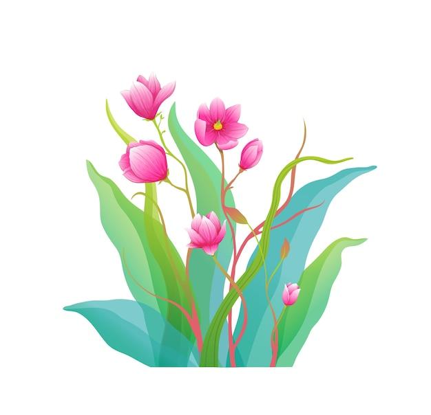 Magnolia bloemen fine art arrangement geïsoleerde clip art klassieke botanische compositie.