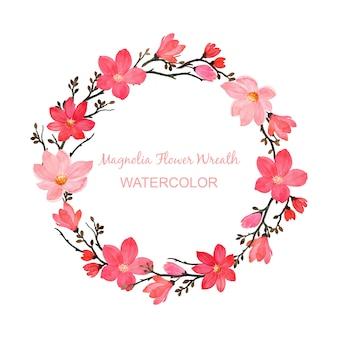 Magnolia bloemenkrans met waterverf