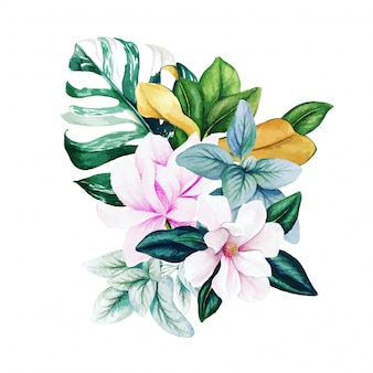 Magnolia en bladeren, helder aquarelboeket met monstera