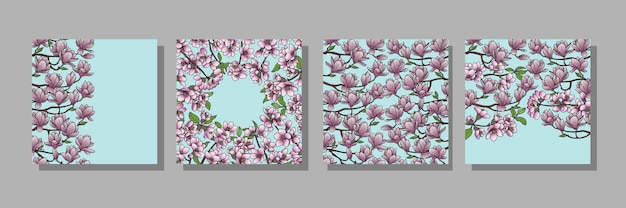 Magnolia en kersen omslagsjablonen voor wenskaarten