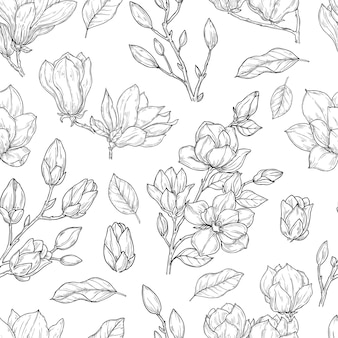 Magnolia naadloze patroon.