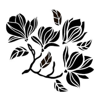 Magnolia tak floral opengewerkte contouren van boomtak met monochroom silhouet van zwarte bloemen schets op witte achtergrond clipart vector illustratie set