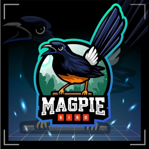 Magpie vogel mascotte esport logo ontwerp