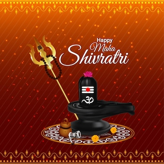 Maha shivratri achtergrond met creatieve shivling