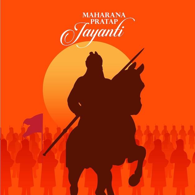 Maharana pratap-kaart met legersilhouet