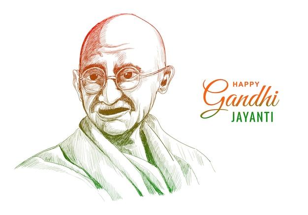 Mahatma gandhi voor gandhi jayanti op wit