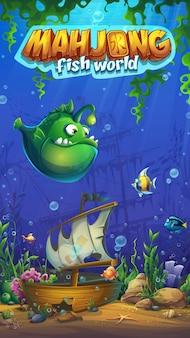 Mahjong fish world illustration mobiel formaat speelveld voor het computerspel