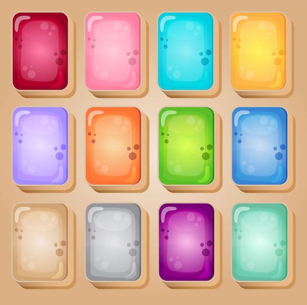 Mahjong-kaarten kleurrijke stijl glanzende gelei in verschillende kleuren.