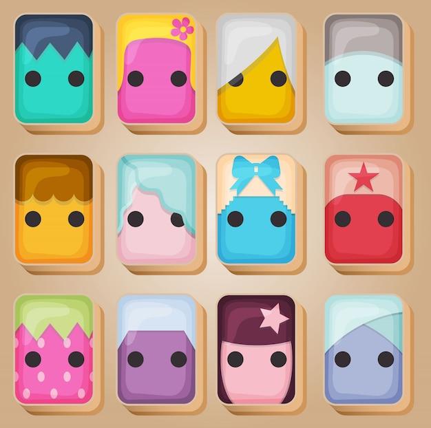 Mahjong-kaarten lijn catoons ingesteld in verschillende kleuren.