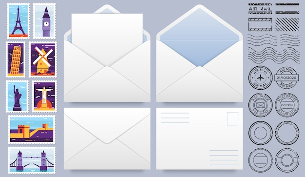 Mail envelop met postzegels