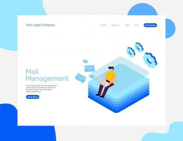 Mail management vector achtergrond voor website.