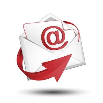 Mail met rode pijl