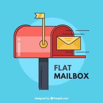 Mailbox achtergrond en gele envelop in vlakke bouwvorm