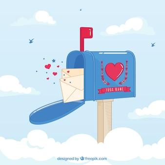 Mailbox achtergrond met liefdesbrieven