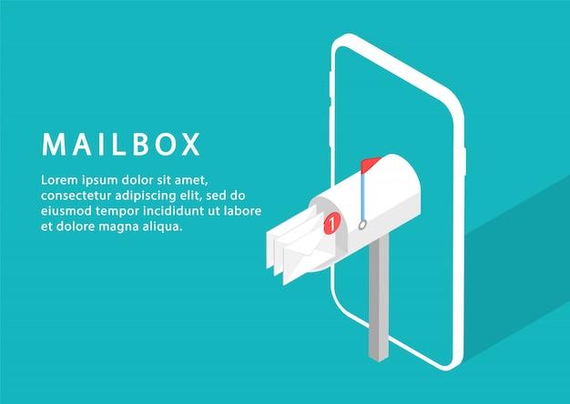 Mailbox in telefoon. e-maildienst. email reclame. isometrisch. moderne webpagina's voor websites.
