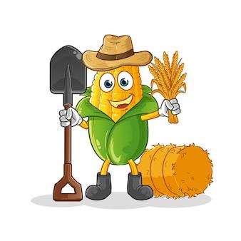 Maïs boer mascotte. tekenfilm