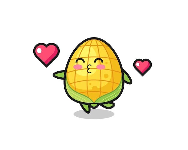 Maïs karakter cartoon met kussend gebaar, schattig stijlontwerp voor t-shirt, sticker, logo-element